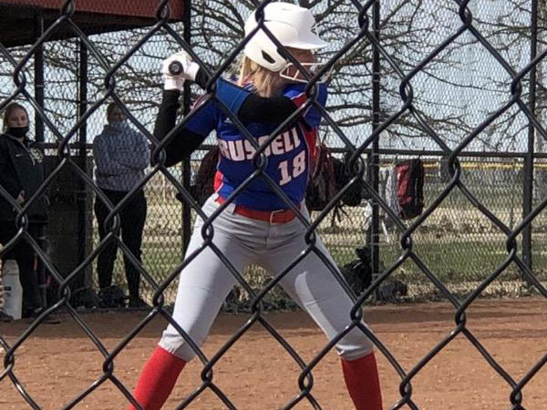 Russell/Victoria's Brooklyn Nowak batting during 2021 game.
