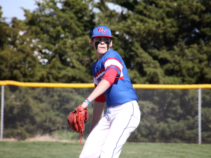 Russell/Victoria's Jackson Cross pitching against Ellsworth on Thursday, April 29. (Photo by Chris Roth)