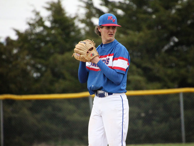 Russell/Victoria's Andrew Kraus pitching against Ellis on April 23, 2021 at the Shaffer Sports Complex in Russell. (Photo courtesy Chris Roth)