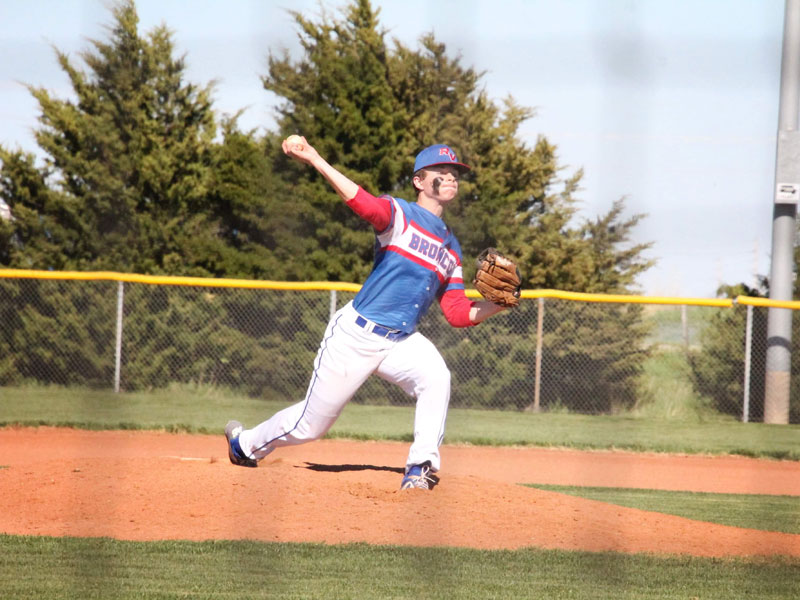 Russell/Victoria pitcher Andrew Roth tossed a no-hitter in game two of the doubleheader against Ellinwood on Friday, April 30 at the Shaffer Sports Complex in Russell. (Photo courtesy of Chris Roth)