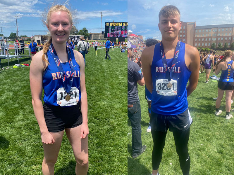 Russell's Renee Nichol (left) and Jace Peerman (right) won state titles on Friday, May 28 in Wichita at the Kansas High School State Track and Field Meet. (Photos courtesy of Sports in Kansas Twitter Page)