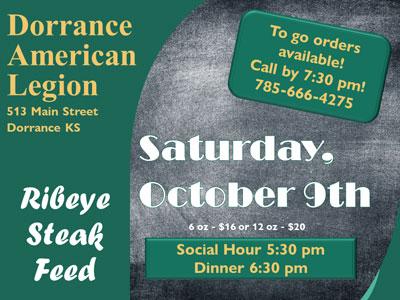 Dorrance American Legion Steak Feed is Saturday, Oct. 9.