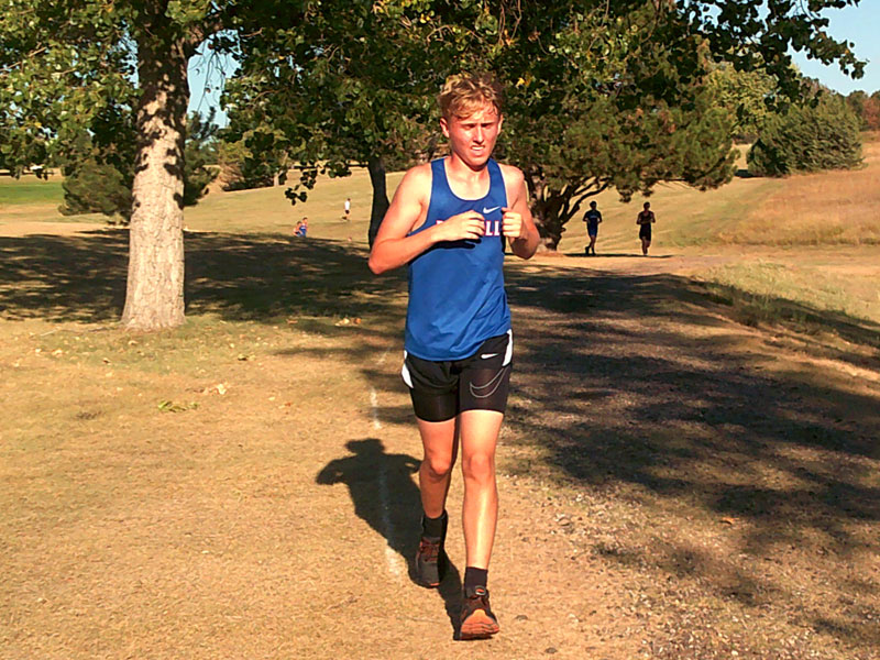 Russell's Tyler Lampert running in WaKeeney on Thursday, Sept. 16 at the Trego Invitational. (Photo courtesy RHS coach Richard Dorzweiler)