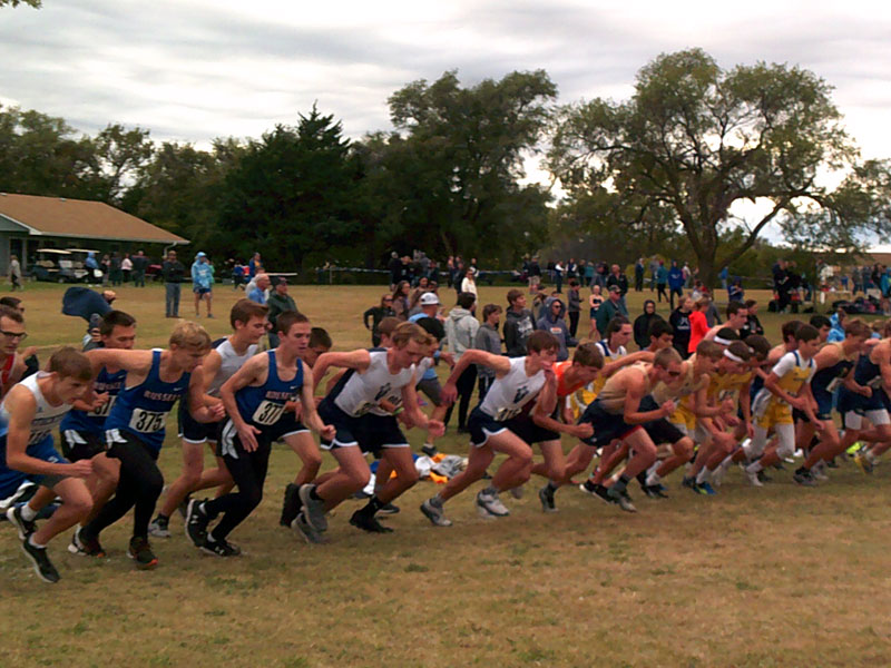 View from start of boys varsity race at the Lakeside Invitation in Downs on Thursday, Oct. 14. (Photo courtesy RHS Coach Richard Dorzweiler)
