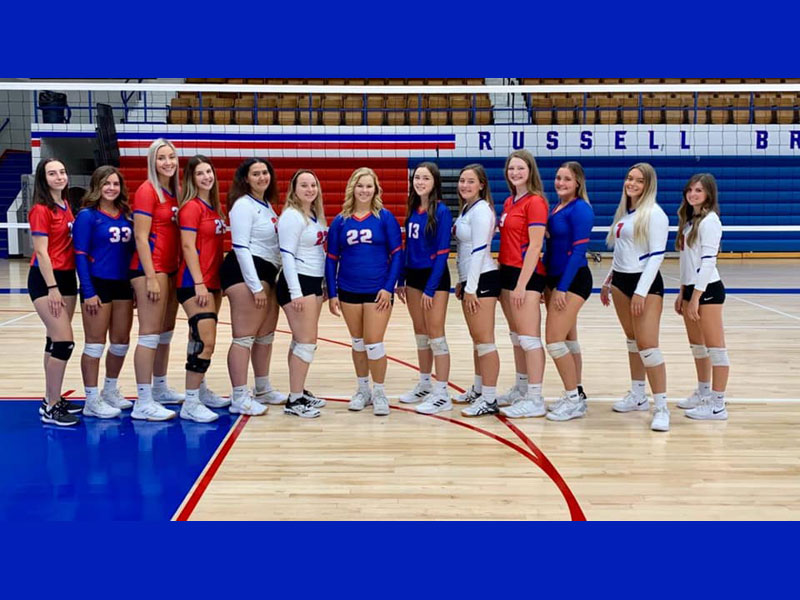 Russell recognized its 13 seniors between games on Tuesday, Oct. 5 during their final home volleyball games at Amos Morris Gym. (Photo courtesy RHS Volleyball Team Facebook Page)