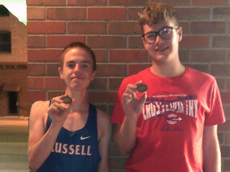 Russell High School cross country runners Sam Whitten and Hunter Throop earned medals at the MCL Meet in Phillipsburg on Thursday, Oct. 7. (Photo courtesy RHS coach Richard Dorzweiler)